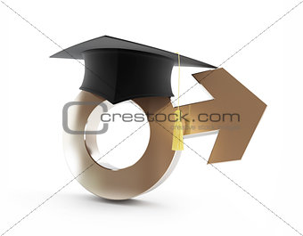 boys' school. graduation cap, sign me on a white background
