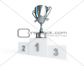 trophy silver cup 3d Illustrations on a white background