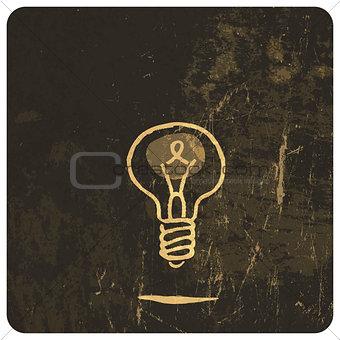 Grunge light bulb. Vector