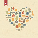 Heart shaped many houses icons. Realty concept. Vector, EPS10