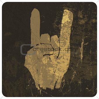 "Grunge ""rock on"" gesture. Vector"