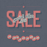 Sale coupon. Template with textured background and percents tags