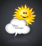 Smiling sun and cloud for text message