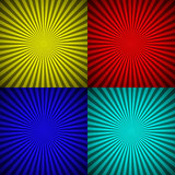 Set of colourful radial rays abstract background
