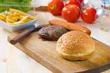 hamburger fast food ingredients with plenty of raw materials on