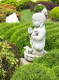 Limestone buddha monk statue