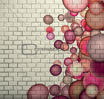 3d mosaic tile brick wall with pink bubble pattern