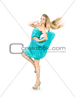 Woman in Turquoise Dress Isolated on White