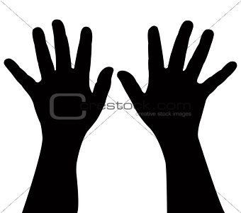 pair of child hands, vector
