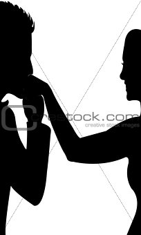 bride and groom, kissing her hand, vector