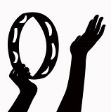 hand playing tambourine, silhouette vector