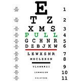 Optical eye test with pull message