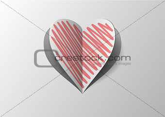 Cutout And Folded Paper Heart With Red Hatch
