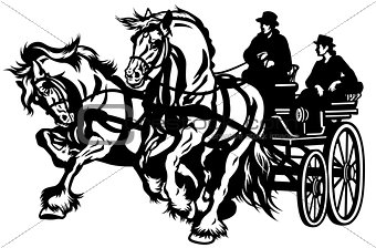 pair horses drawn carriage