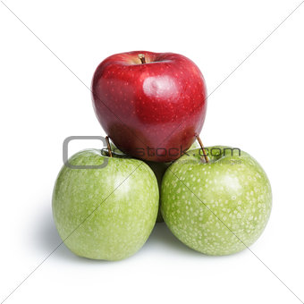 one red and three green apples in piramid