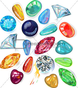 Array of precious stones. Vector Illustration, EPS8