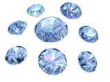 Set of eight diamonds isolated on white background