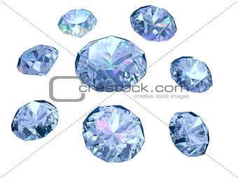 Set of eight diamonds isolated on white background