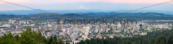 Portland Oregon Cityscape with Mount Hood