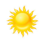Hot yellow sun icon isolated