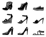 Set of icons of womanish shoe