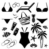 Set of icons with swimming suits