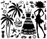 Fashionable set of tropical rest with silhouette of woman