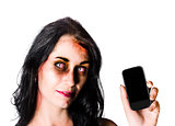 Bruised Zombie Woman with Cell Phone