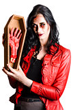 Zombie Woman with Coffin and Severed Hand