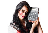 Zombie finance worker with calculator