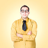 Nice nerd business salesman on yellow background