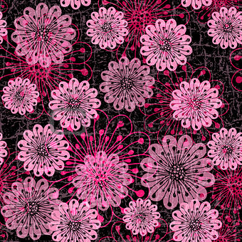 Dark seamless pattern with pink flowers
