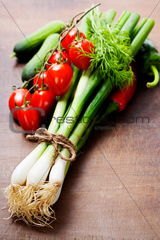 fresh spring onions and vegetables