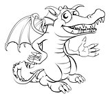 Happy cartoon dragon