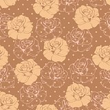 Seamless vector retro floral pattern with beige roses on brown background with polka dots.