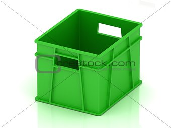 Green plastic box for vegetables and fruits