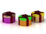 Round colorful gift boxes