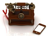 Old telephone is covered with trees, and a new smartphone
