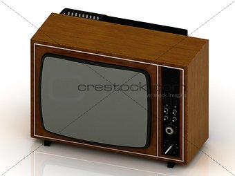 Old TV in the wooden case 1970
