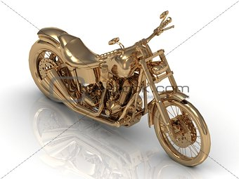 Golden statuette of a powerful motorcycle