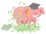 pig with graduation cap surrounded by money