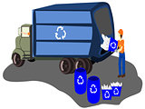 recycle truck with workers