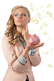 woman thinking with piggybank