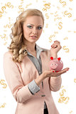beauty business woman with piggybank