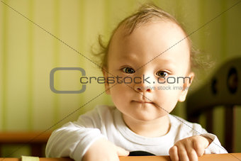 Cute baby boy with funny hair