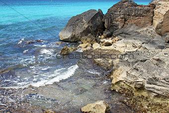 turquoise rocky beach in mallorca balearic island