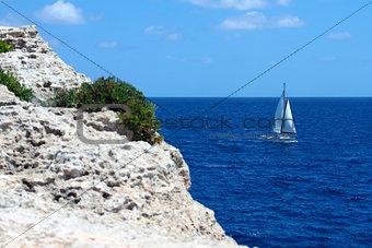 Yacht sailing on the sea in Mallorca