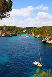 beautiful turquoise bays with yachts in Mallorca