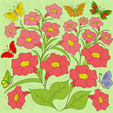Flowers and butterflies color background