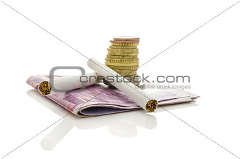 Cigarettes with Euro money